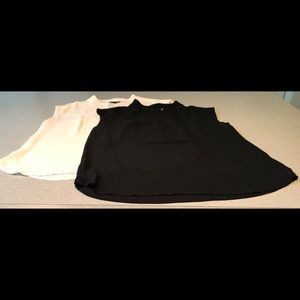 J. Crew Tops - J Crew Drapey Cap-Sleeve Top. Black and Ivory Pair